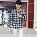 2015 New Men Shirt Long Sleeve Casual Plaid Stylish Shirt Men Shirt Man Cotton Casual Slim Fit Shirts Plus Size 3XL 4XL 5XL