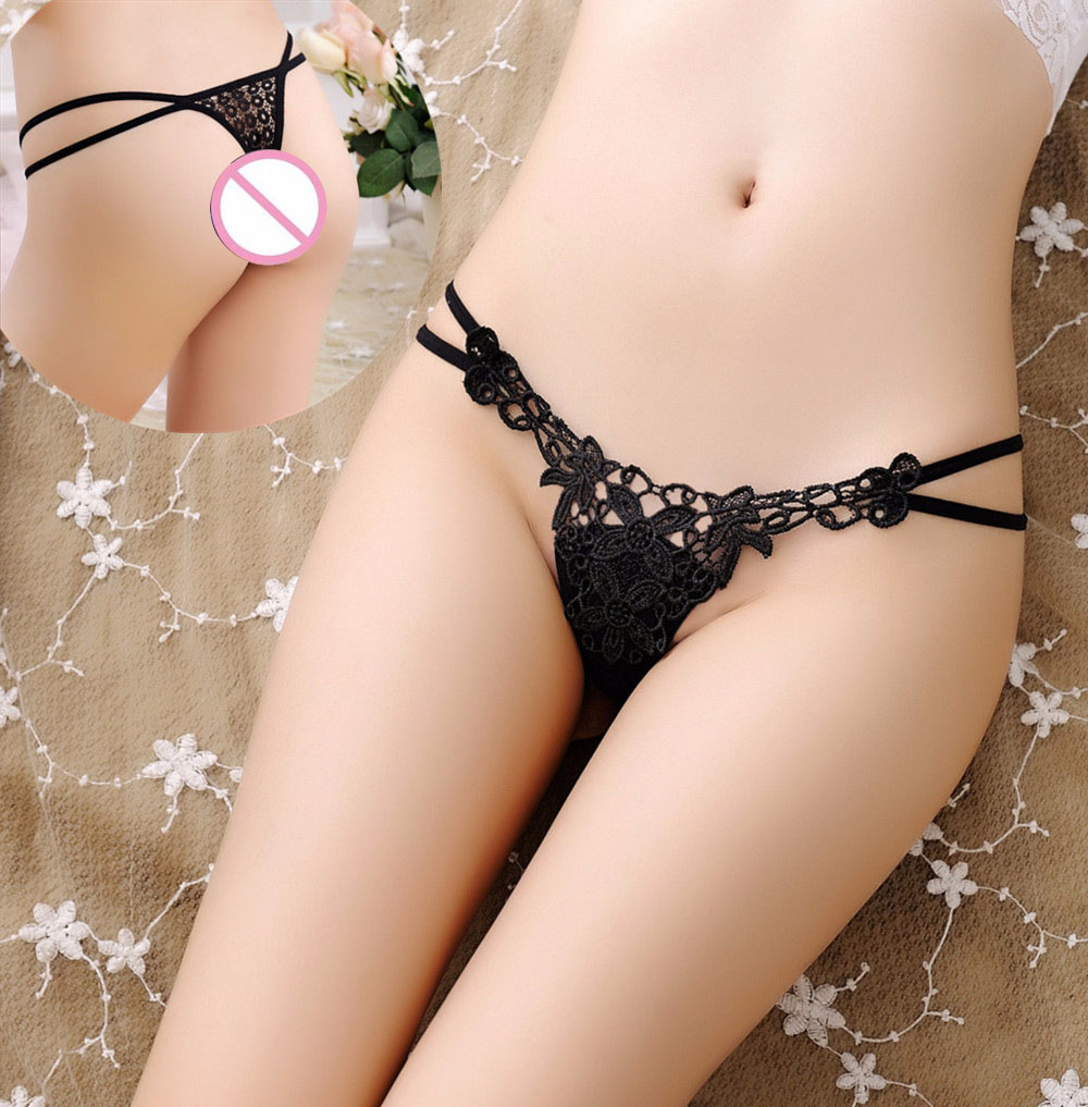 Buy Sexy Lace Panties Solid Color Women Thongs G Strings Panties Intimates Hollow Women Lingeries Underwear Embroidery Thong