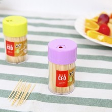 Environmental quality bottled bamboo toothpick barrel transparent holder with 380pcs toothpicks 8cm*4.5cm