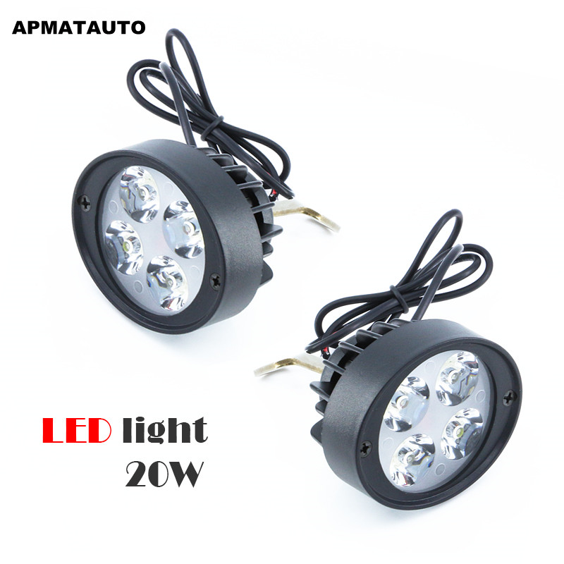 2X White 12V-85V LED Motorcycle Headlight Electric Bicycle Light Mirror Mount Driving Fog Spot Headlamp  Side Mirror bulb 12v led light auto headlamp h1 h3 h7 9005 9004 9007 h4 h15 car led headlight bulb 30w high single dual beam white light