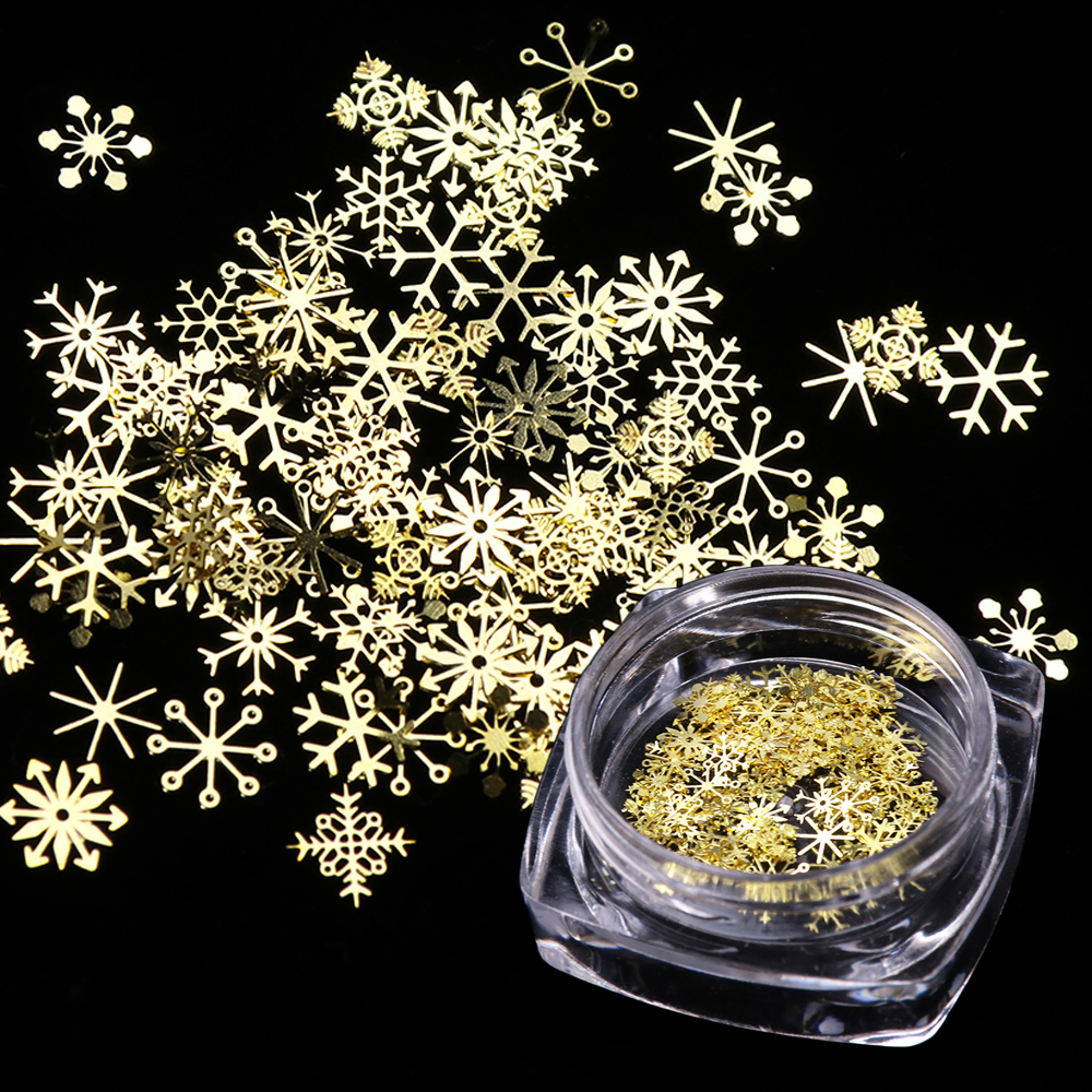 1 Box Nail Glitter Christmas Gold Snowflakes Nail Art Sequins Powder Dust Flakes 3D Charm Decoration UV Gel Polish Tips JI889