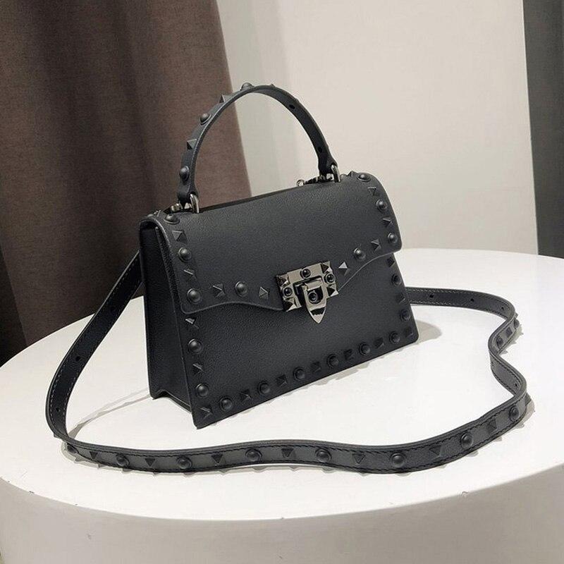 Rivet Women Messenger Bags Luxury Handbags Women Bags Designer PVC Jelly Bag Fashion Shoulder Bag Females PU Leather Handbags-in Top-Handle Bags from Luggage & Bags
