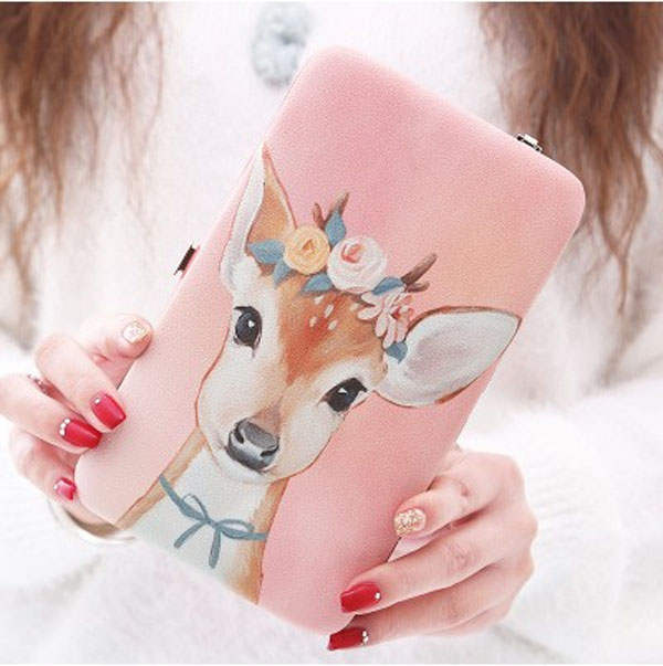 Women's Purse Wallets Large Capacity PU Long Wallet Phone Bag Women Fashion Cartoon Clutch carteira for Teenager Girls brand double zipper genuine leather men wallets with phone bag vintage long clutch male purses large capacity new men s wallets