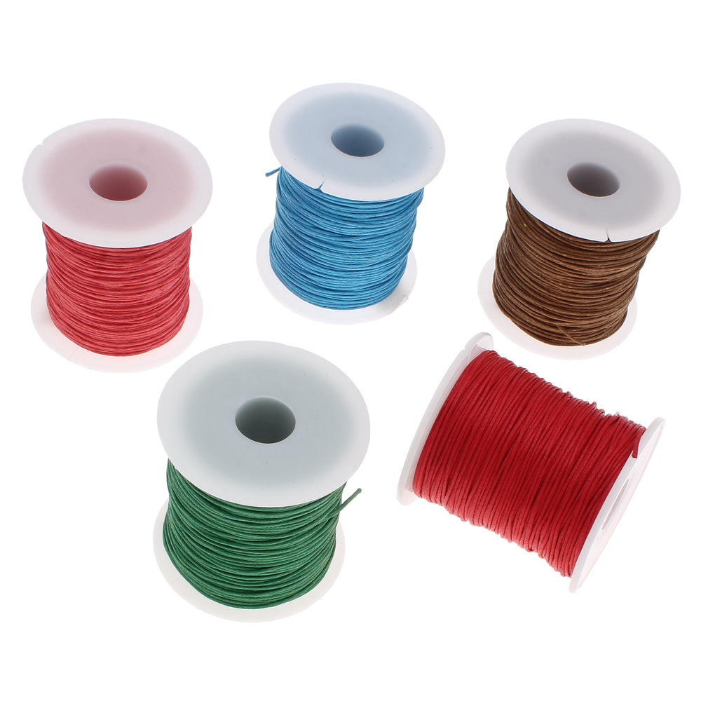 19 colors 1mm 100yards Waxed thread for bracelets string cotton spool rope hand made jewelry making diy necklace cord black mint candy coloured string hand chain bracelets