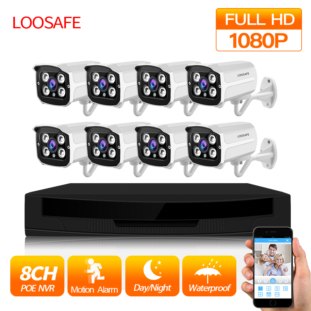 LOOSAFE 1080P POE CCTV security Camera system 8CH NVR PoE P2P Kit Outdoor Security IP Cam