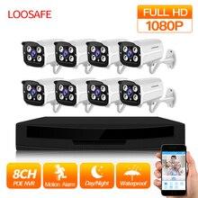LOOSAFE 1080P POE HDMI PoE NVR zestaw CCTV Securit 8CH NVR POE P2P zestaw bezpieczeństwo zewnętrzne kamera ip 8CH HDD P2P Onvif nadzoru zestaw