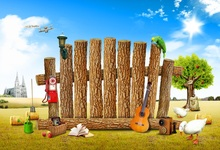 hot deal buy laeacco photo backgrounds green grass spring wooden wall guitar farm blue sky baby child photo backdrops photocall photo studio