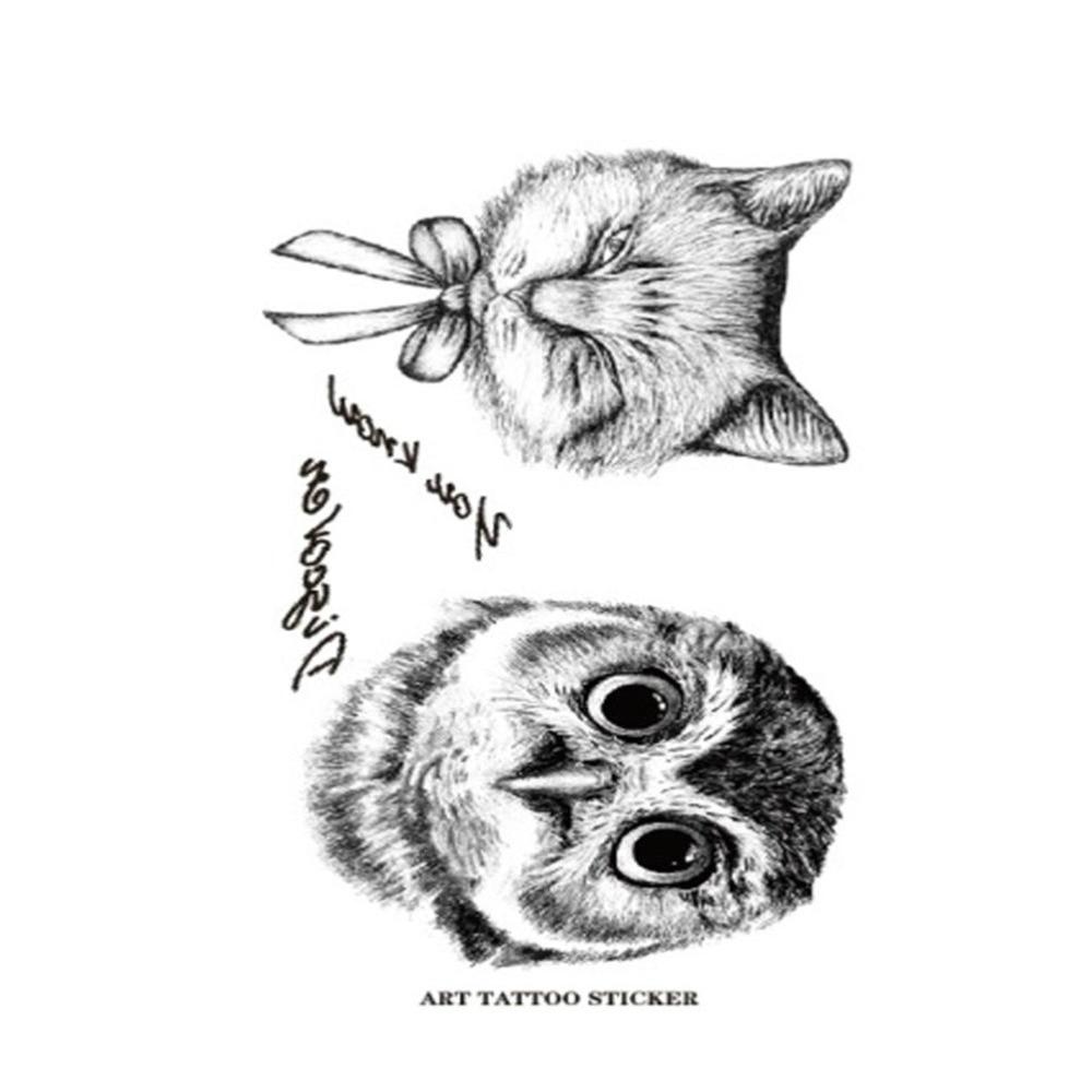 black and white Owl Design Fox Tattoos Waterproof Temporary Tattoo Stickers Tattoos For Chest Wrist Black Sticker Fake Tatoo