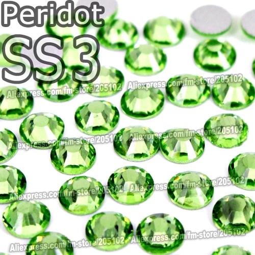 SS3 1.4mm Peridot Nail Rhinestones 1440pcs/bag Non HotFix FlatBack Crystals glass strass Glitters for nail Art glue on stone