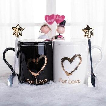 Paar Kaffeetassen | Kaffee Becher Set Tee Tasse Wasser Tumbler Kit Keramik Valentinstag Geschenk Box Gold Rand Marmor Flamingo Herz Form Paare Tasse 1Set