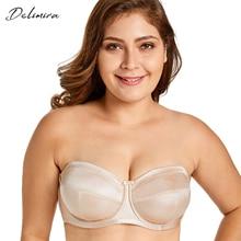 Delimira Women's No Padding Underwire Ultra Support Convertible Strapless Bra