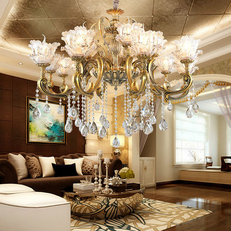 Free Shipping European Crystal Zinc Alloy Chandelier E14 Bronze Color Chandeliers Living Room