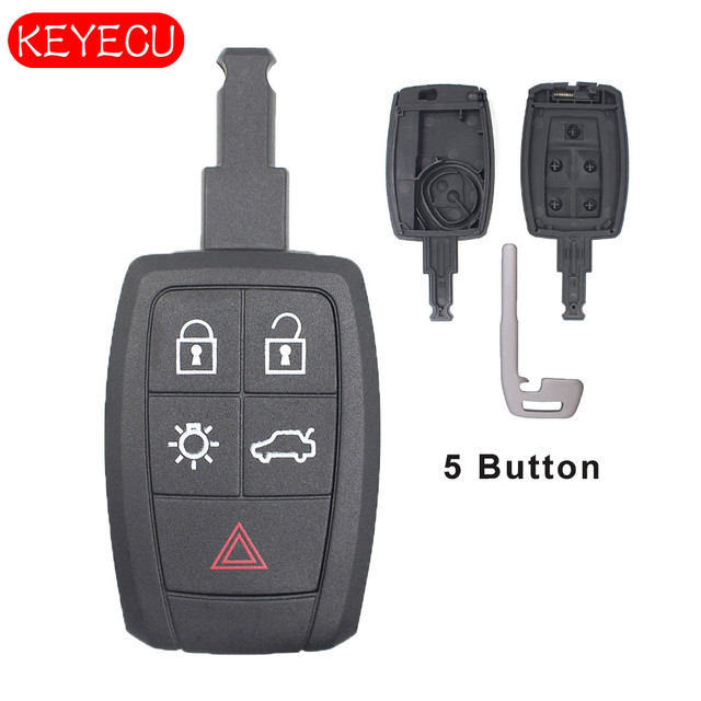 keyecu smart 5 button remote car key shell case keyless entrykeyecu smart 5 button remote car key shell case keyless entry replacement for volvo c30 c70 s40 v50 fcc id kr55wk49259