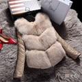 2016 Новых Зимней Моды женщин Роскошные Искусственного Меха Лисы Пальто Slim Fit Искусственной Кожи Овец Кожа Съемная Верхняя Одежда Парки A1399