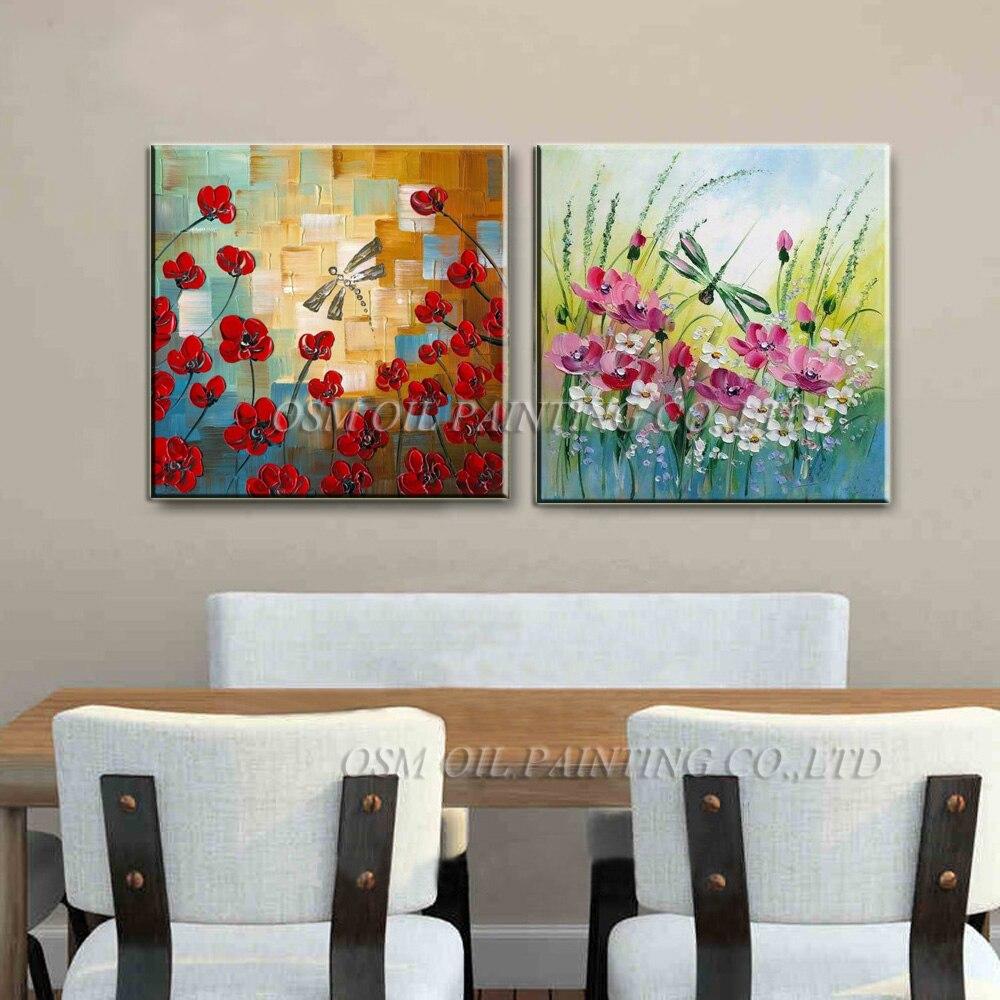 Handgemalte Messer Blumen Ölgemälde Abstrakte Libelle Malerei auf - Wohnkultur