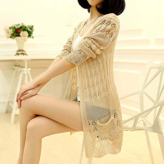 Knitted Cardigan Loose Pocket Hollow Long Sleeve Women Sweater 3