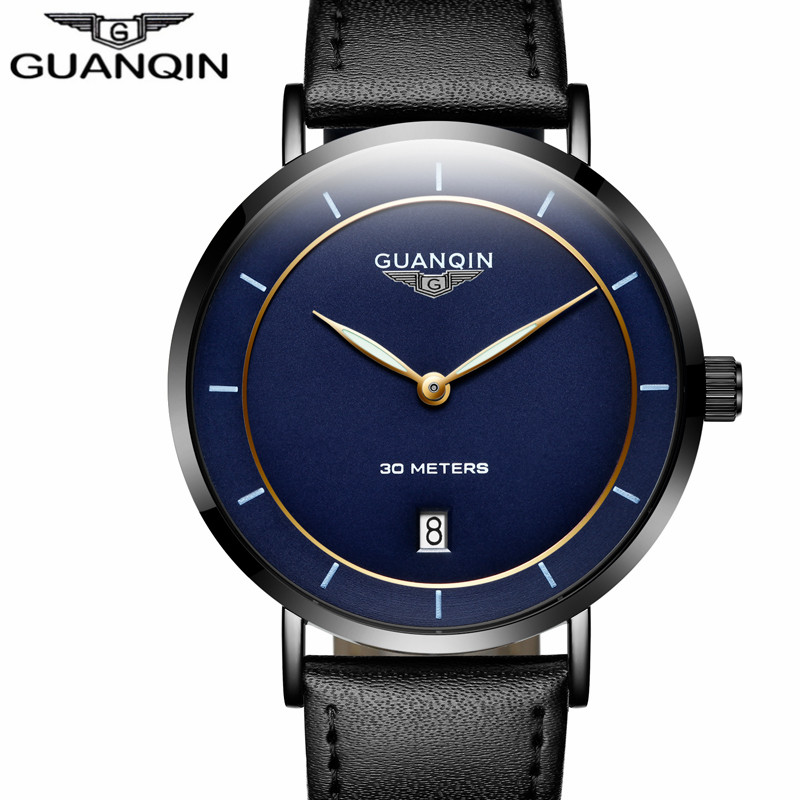 Mens Watches Top Brand Luxury GUANQIN Simple Design Ultra Thin Quartz-Watch Men Casual Leather Male Watches relogio masculino smart 2section fishing rods 1 8m carbon m power varas de pesca fish stand pole canne de pesca spinning casting rod