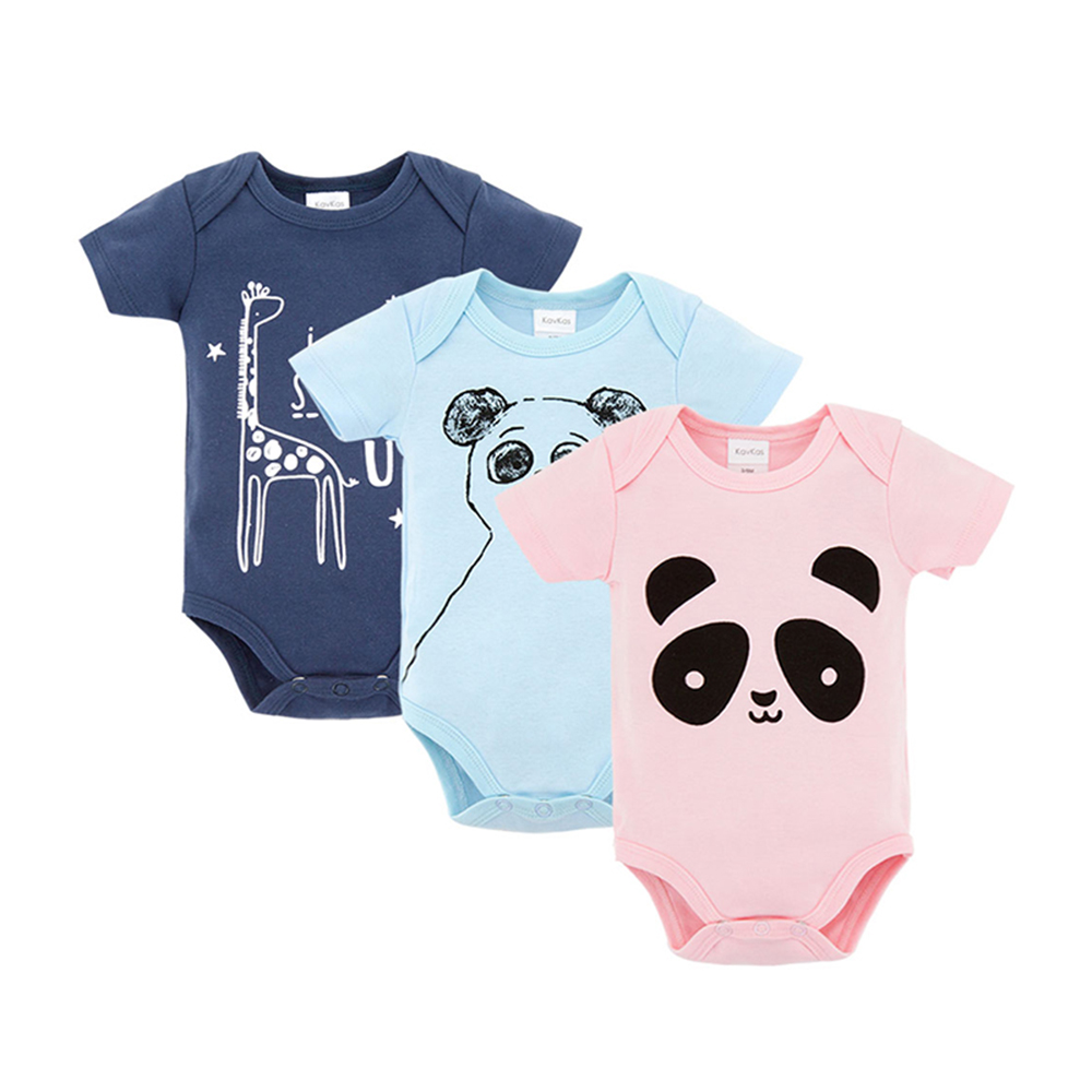 Wuawua 3 Piece A Lot Baby Rompers Short Sleeve Round Neck Cotton Romper 0-9M Newborn Boys&Girls Roupas De Bebe Baby Clothes