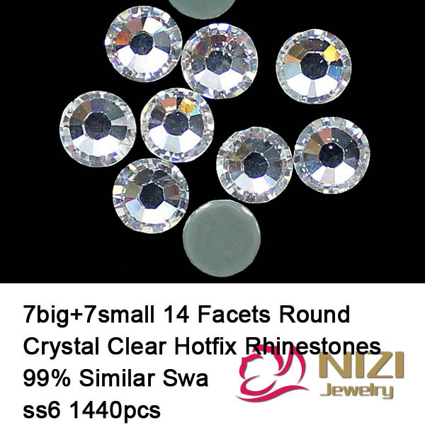 Excellent Quality Hotfix Rhinestones Round Iron On Crystal Clear Strass Flatback Glass 14 Facets Rhinestones Better Than DMC 12 facets of a crystal