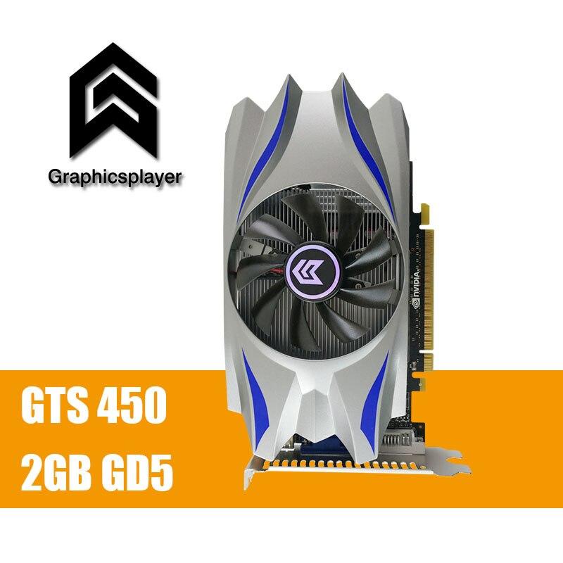 Para PC, PCI-E 2 GB DDR5 128Bit GTS450 ventilador de la tarjeta gráfica Placa de Video carte graphique de la tarjeta de vídeo Nvidia GTS450 DVI