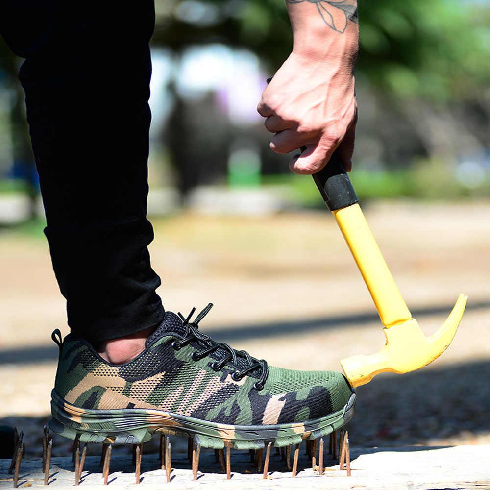 البناء الرجال في الهواء الطلق حجم كبير غطاء صلب لأصبع القدم حذاء برقبة للعمل أحذية الرجال التمويه ثقب برهان أحذية أمان تنفس