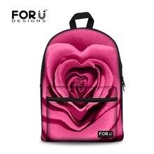 FORUDESIGNS горячей продажи путешествия женщины рюкзаки детей холст рюкзак школы студент ноутбук ранцы 3d роуз печати сумка