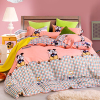 DISNEY 100% Cotton mickey mouse bedding sets 4PCS minnie kids duvet cover queen/full size bedsheet bed set
