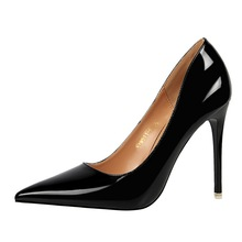 2019 Luxury Women Shoes Pointed Toe Pumps Shallow Patent Leather Dress Comfort High Heels Boat Wedding Zapatos Mujer Office Lady цена