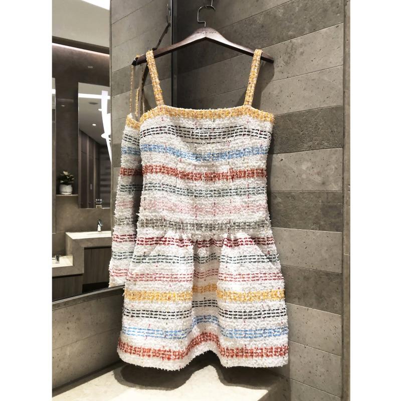 2019 spring summer High end women jacquard hand woven soft fabric strap dress vest dress Silk