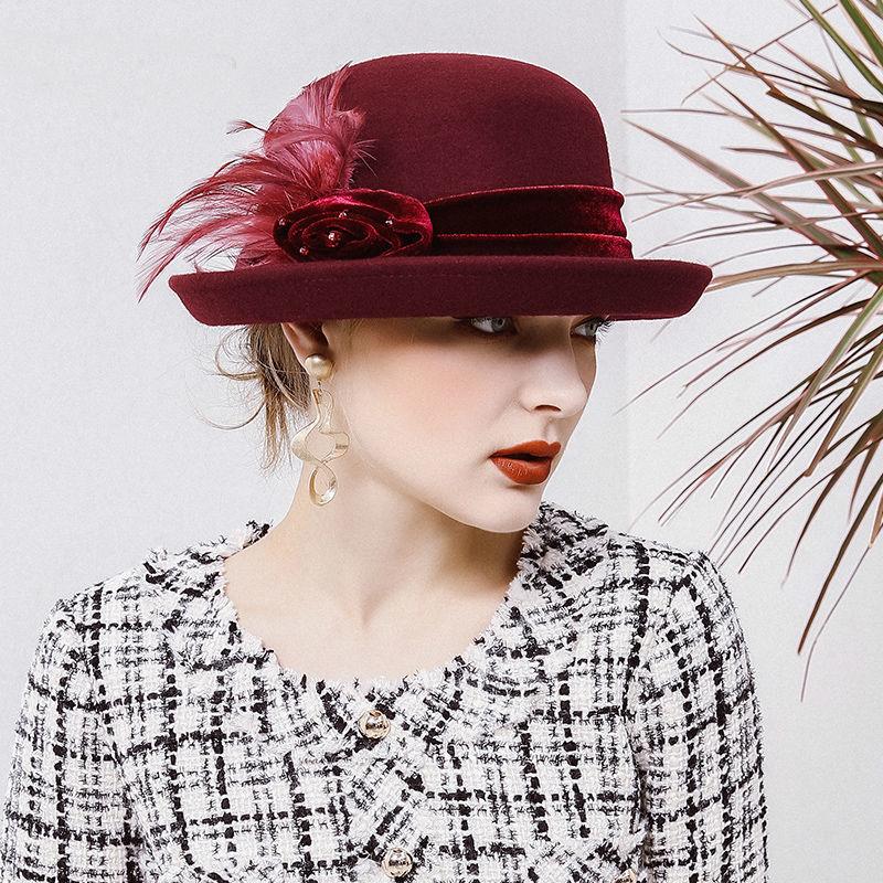 70661bec9b6f19 Beckyruiwu Banquet Grace Feather Headwear Women Winter 100% Wool Felt Hats  Lady Party Formal Up turn Brim Woolen Fedora Hat-in Fedoras from Women's  Clothing ...