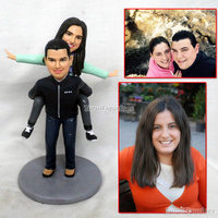 Custom ooak polymer clay doll wedding anniversary cake topper gift for parents couple present Custom animal human man portrait