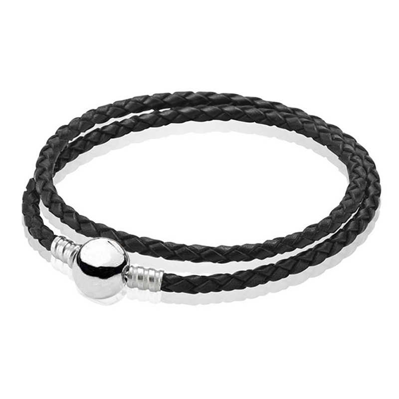 925-Sterling-Silver Bracelet Jewelry Women Bangle Ball Bead Genuine-Leather Fit DIY Charm