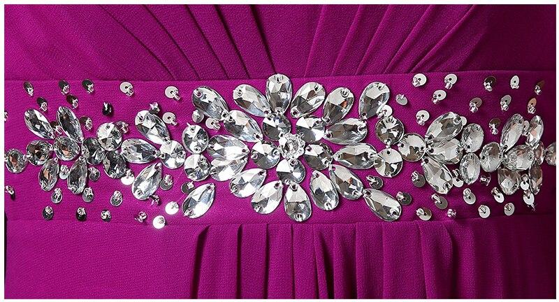 Col en v belle pourpre rouge à manches longues perlée mariée robe de demoiselle d'honneur robes bleu clair robe de soirée pour les mariages H3328 - 5
