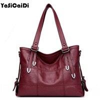 YASICAIDI Patchwork Women Casual Tote Bags High Quality Pu Leather Handbag Bag Vintage Plaid Crossbody For