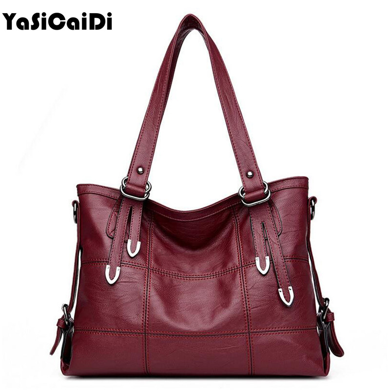 YASICAIDI Patchwork Women Casual Shoulder Bag High Quality Black Pu Leather Women Handbag Vintage Stitching Crossbody Bag sac