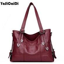 YASICAIDI Patchwork Women Casual Shoulder Bag High Quality Black Pu Leather Women Handbag Vintage Stitching Crossbody Bag sac