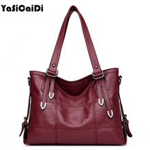 YASICAIDI Patchwork Women Casual Shoulder Bag High Quality Black Pu Leather original Handbag Vintage Stitching Crossbody Bag sac