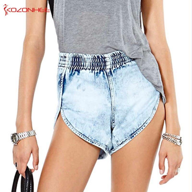 Stretch Waist Snowflake Wash Women Denim   Short   High Waist Style Denim   Shorts   Female Summer   Shorts   Jeans #89