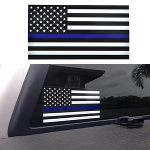 Image 1 - 1PCS משטרת קצין דק כחול קו אמריקאי דגל ויניל מדבקות לרכב מדבקה #1
