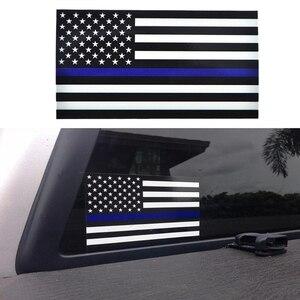 Image 1 - 1PCS Polizei Offizier Dünne Blaue Linie Amerikanischen Flagge Vinyl Aufkleber Auto Aufkleber #1