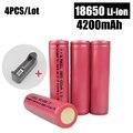 HOT 4 pçs/lote 18650 Bateria 3.7 V 4200 mAh Recarregável li-ion battery + um carregador para lanterna Led da bateria