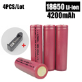 HOT 4 pcs/lot 18650 Battery 3.7V 4200mAh Rechargeable li-ion battery + one charger for Led flashlight battery