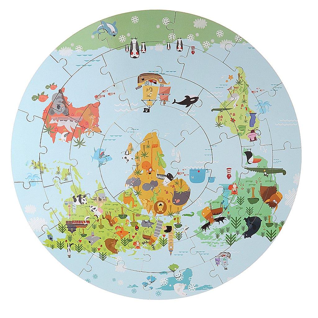 36 pièces en bois bande dessinée carte du monde Puzzle début de l'apprentissage jouets éducatifs cadeau d'anniversaire pour enfants en bas âge enfants