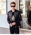 Fanzhuan Бесплатная Доставка Новый случайный человек мужская мужской Моды Черный Тонкий кожаный пиджак Метросексуал геометрическая вышитые пальто 610170