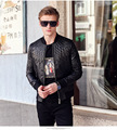 Fanzhuan Free Shipping New casual man men's male Fashion Black Slim leather jacket Metrosexual geometric embroidered coat 610170