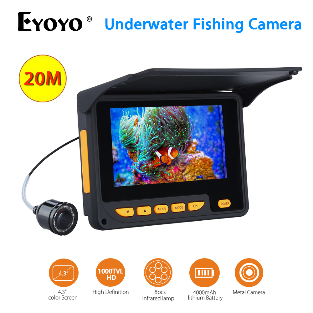 Eyoyo水中アイスフィッシングカメラ20M検出範囲HD 1000TVLビデオフィッシュファインダー4.3
