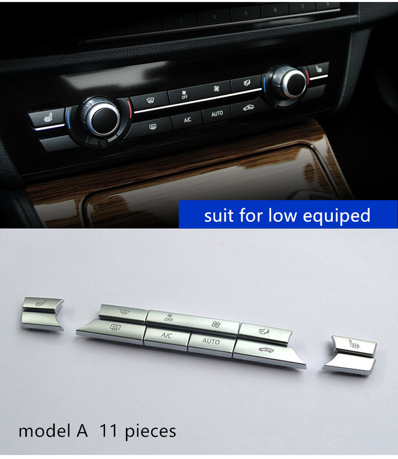 Chrome ABS Air Conditioner Buttons Sequins Decoration Cover Trim For BMW  F10 F11 F06 F01 E70 E71 F25 F26 Replacement Type