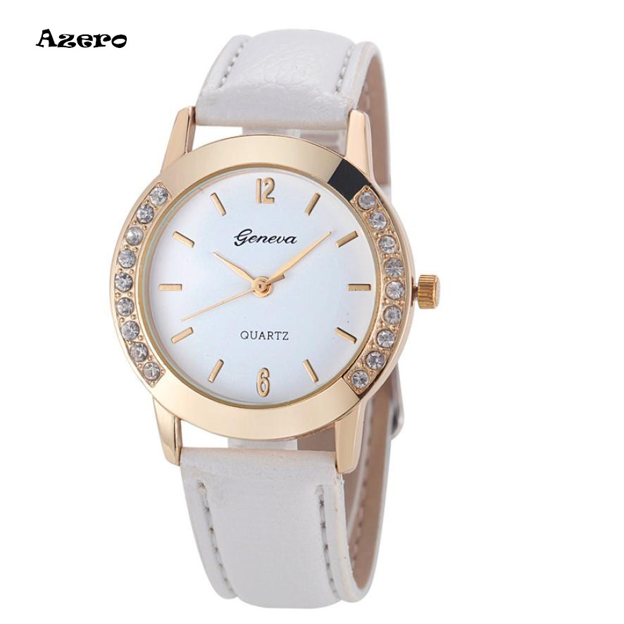 Reloj Mujer 2018 Geneva Fashion Women Diamond Analog Leather Quartz Wrist Watch Saat Watches Womens Watches Top Brand Luxury