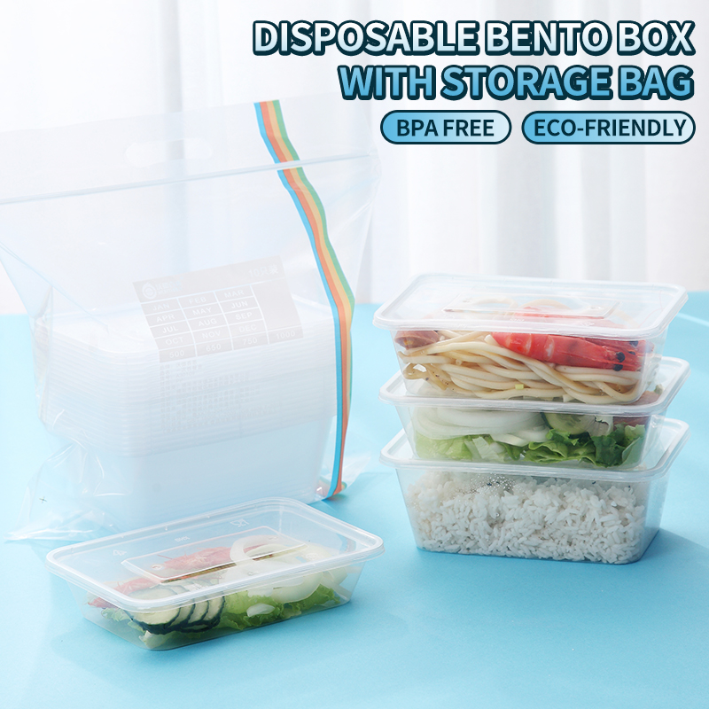 WORTHBUY 10 Pcs/Set Japanese Disposable Food Containers BPA Free Plastic Bento Box Microwave Lunch Box For School Dinner Set