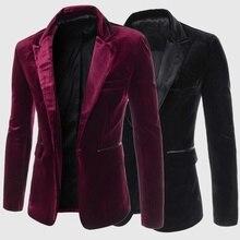 ZOGAA Men Burgundy Velvet Jacket 2019 Brand New Slim Fit Men coat Single Button Wedding Formal Business Dress men casual blazer
